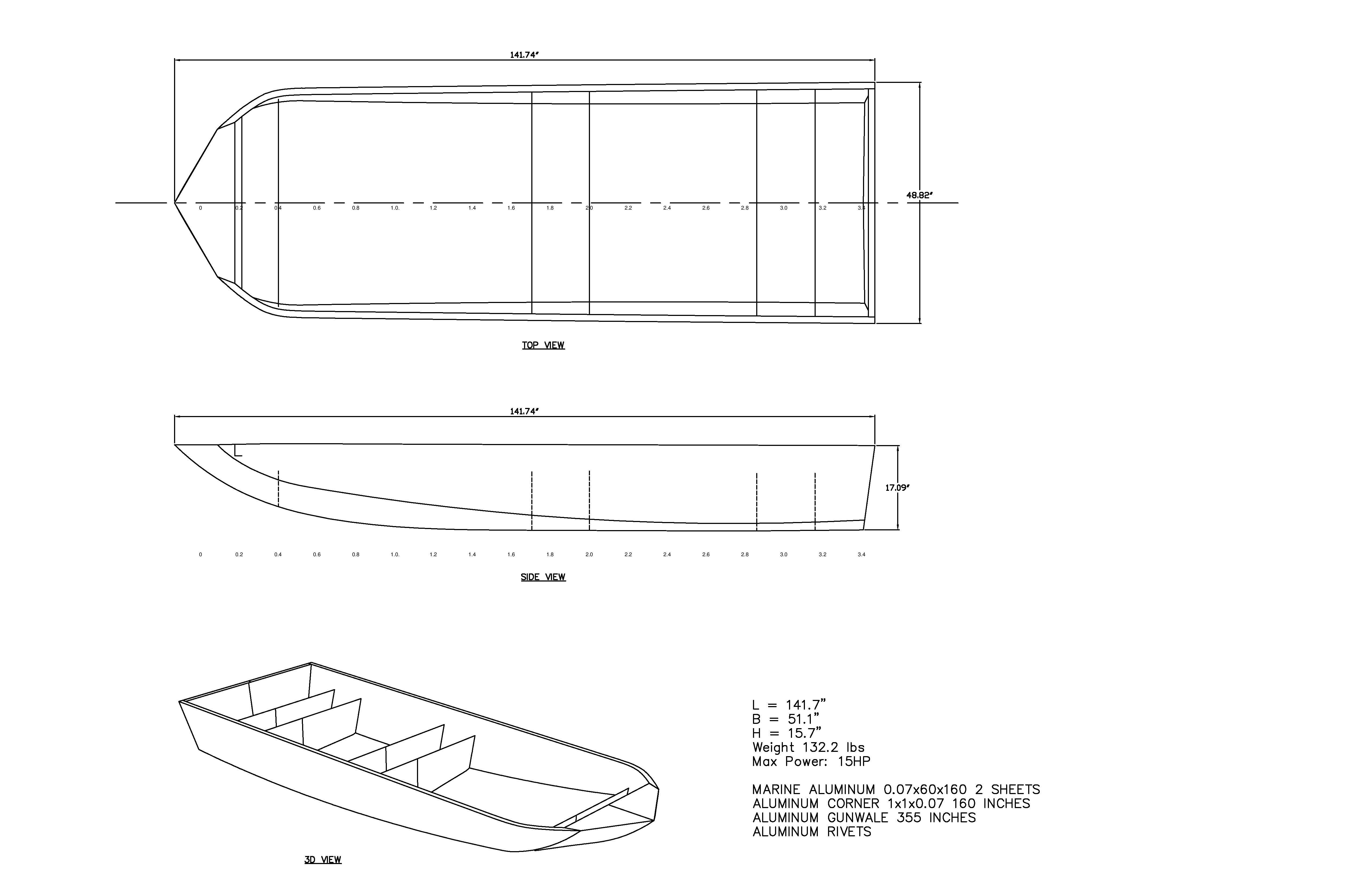 12 Foot Aluminum Boat Plans 4 Ft Wide Up To 15 H P Motor