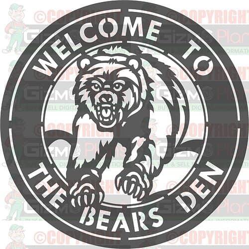 Bears Den DXF Plasma File Sign