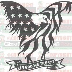 Flying Eagle American Flag In God We Trust DXF Files