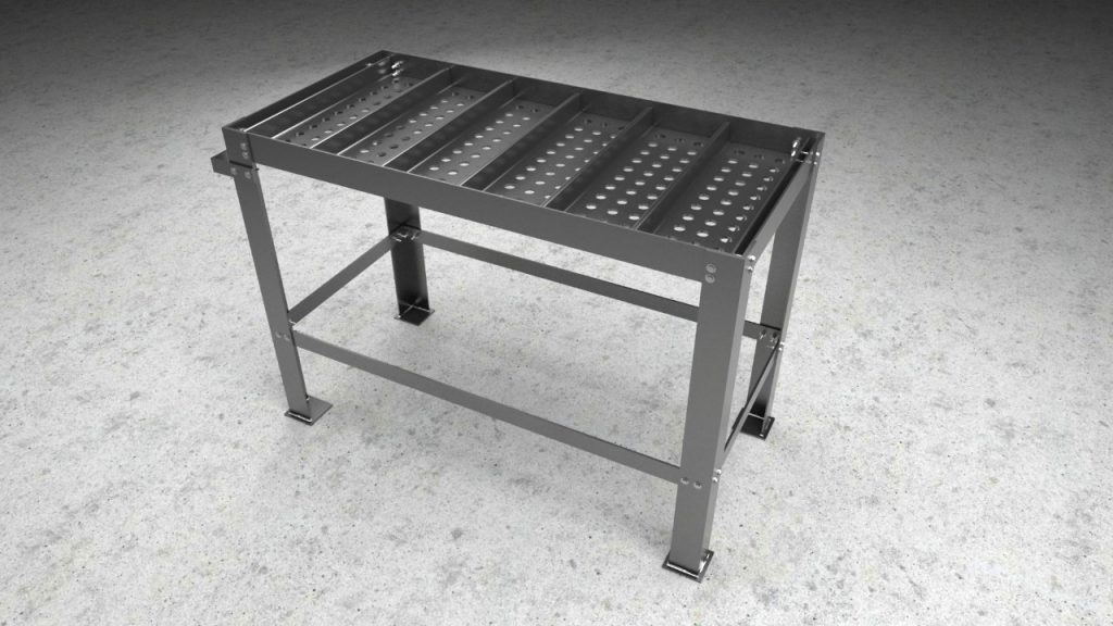 Gizmo Plans dual-purpose welding table and plasma cutting table in one is shown in this file photo.