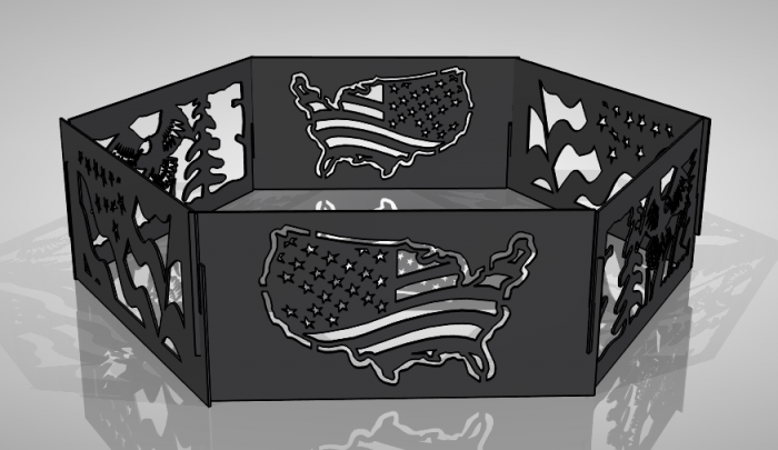 Caption #7 - USA Hexagon Fire Pit DXF Files