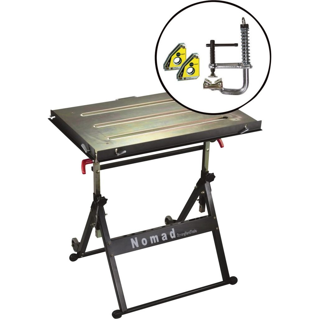 Strong Hand Tools Nomad Welding Table with MagSpring Clamp and Mini Magnet Twin Pack