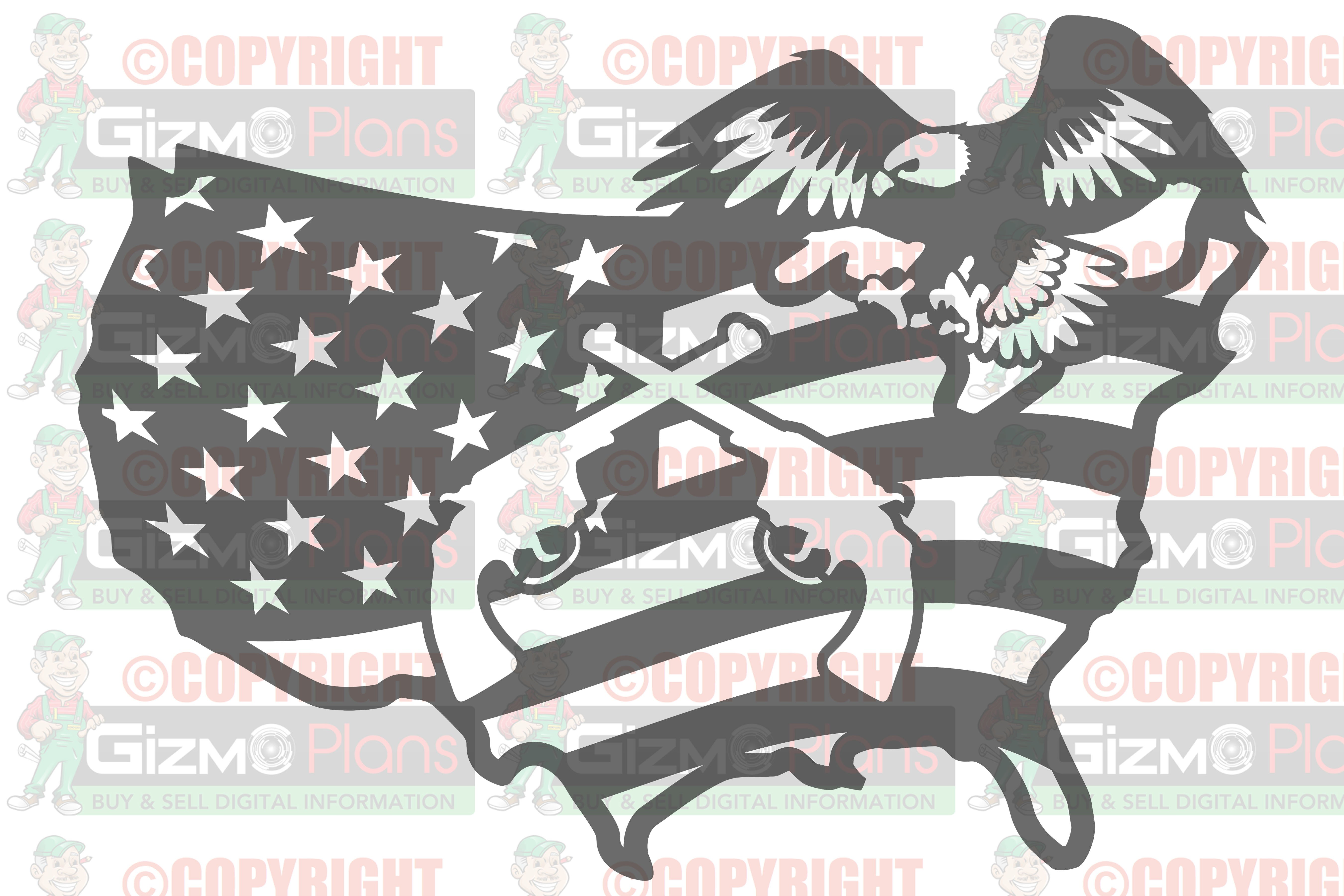 USA Flag with Guns DXF File