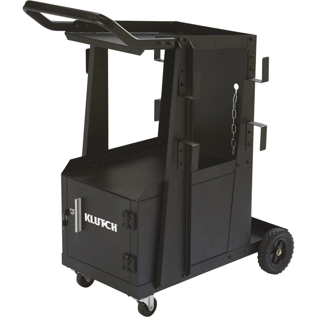 Klutch 2-Tier Welding Cart with Locking Cabinet