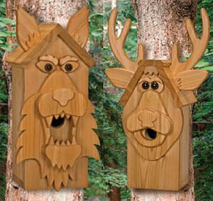 Wolf & Deer Cedar Birdhouse Plans