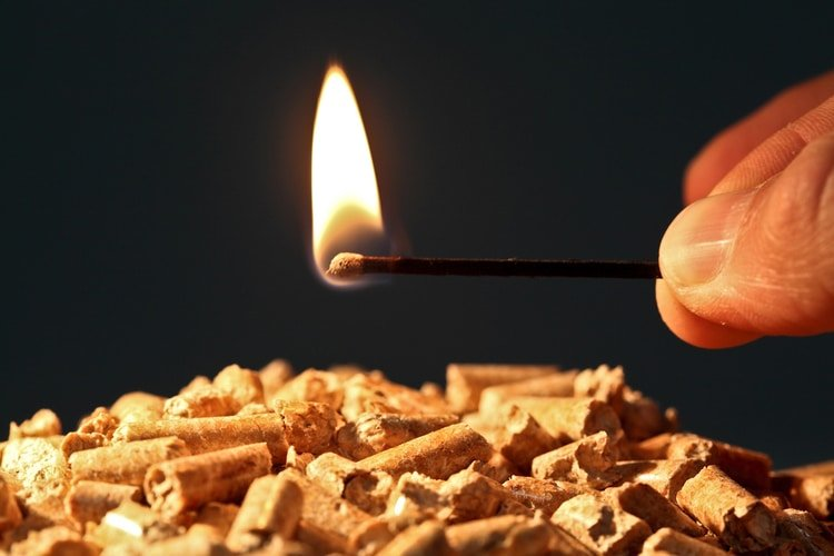 compressed wood fire