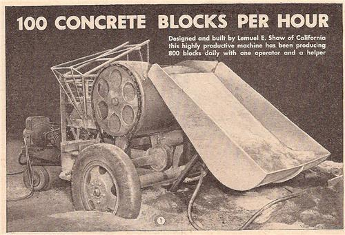 vintage concrete block machine plans