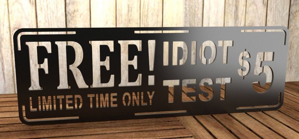 idiot test sign free dxf files