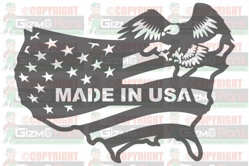 Made In USA Flag with Eagle DXF File
